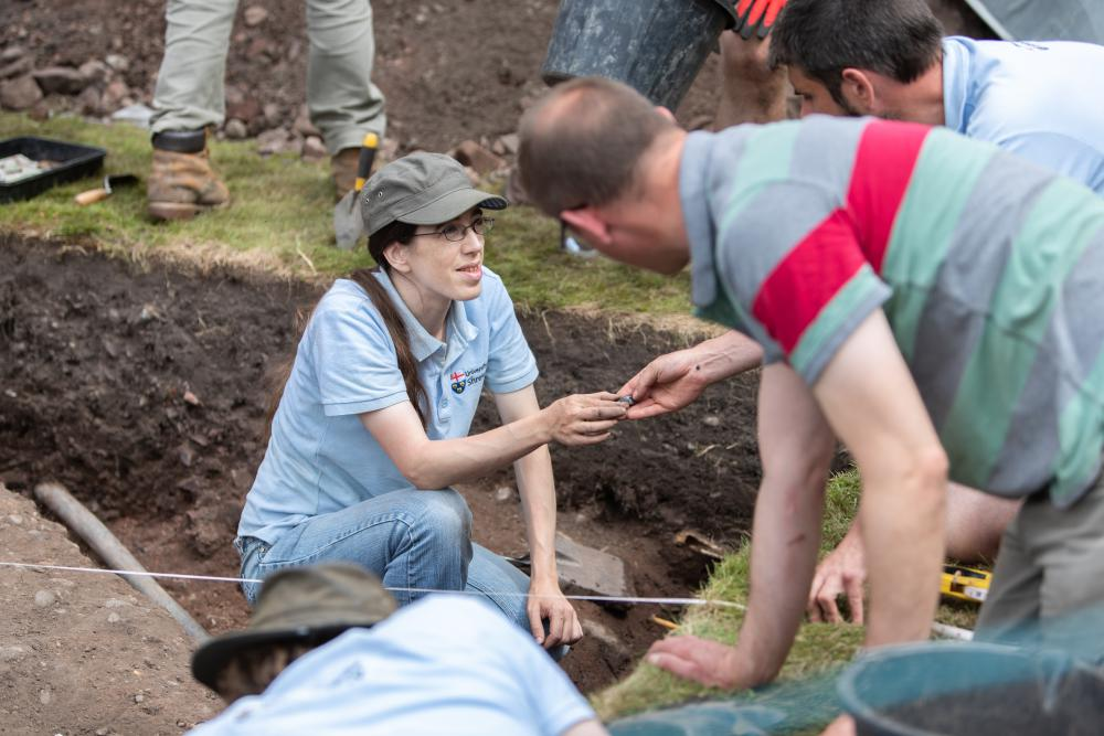 Dr Morn Capper and volunteers at the Shrewsbury Castle archaeological dig